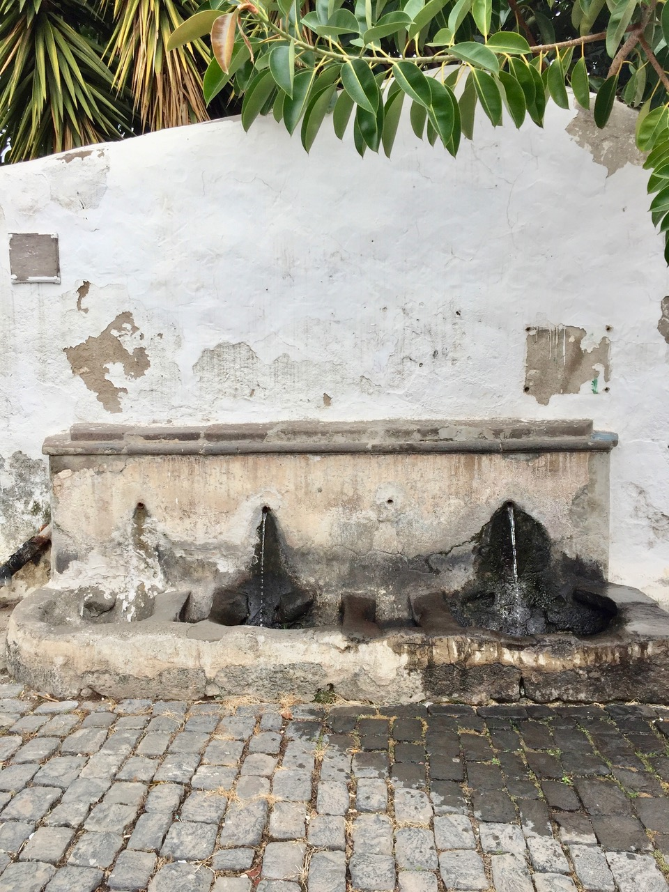 An old fountain where water pours out of two holes in an old brick wall.